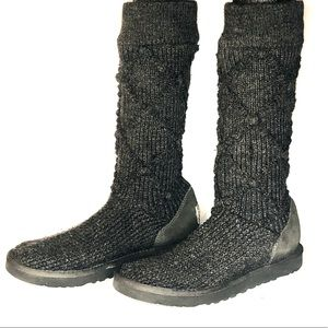 UGG boots tall crocheted gray knit uggs